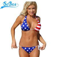 american apparel bikini - Hot Sexy Women Bathing Suits Stripes Stars American Apparel Two Piece Bikini Swimsuit Set Beach Swimwear Maillot De Bain