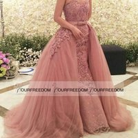 Wholesale Zuhair Murad Sexy Nude Pink Arabic Evening Dresses Dubai Beaded Appliques Overskirts Long Prom Dresses Party Gowns Formal Custom Made