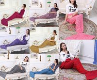 Wholesale Mermaid air conditioning blanket Scales sofa blanket mermaid tail small blankets braided warm quilts new style E536