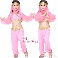 Wholesale Pink Dancing Dresses for Childrens Indian Dance Performance Clothing Belly Dance Costume Full Sets Dress For KID