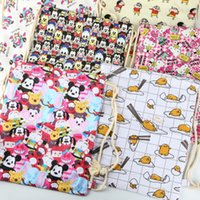 Wholesale 2016 NEW Printed Canvas drawstring bags backpacks schoolbags children school cartoon kids Mickey HelloKitty shopping bags