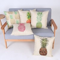 beige office chair - 45cm Square Yellow pineapple Rural Cotton Linen Fabric Throw Pillow inch Fashion Hotal Office Bedroom Decorate Sofa Chair Cushion