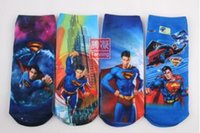 Wholesale Hot new autumn winter children socks kids boys girls D Spiderman superman cartoon printed short breathable socks cotton100