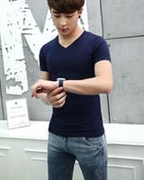 basic tee - New hot Fashion Men s V Neck Short Sleeve T Shirt Slim Basic Tee Top XS L Multicolor