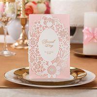 Wholesale Laser Cut Pink Color Floral design Wedding Invitation Card