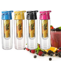 Wholesale Flip Lid ml Fruit Juice Infuser Infusing Sports Water Bottle Health Flip Lid Bpa Free Fruit Crusher Artifact Fruit Cup