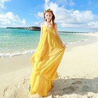 al por mayor amarillo vestidos de bola en capas-Missfox A estrenar Mujeres Bohemia Vestido largo de gasa Vestido de bola elegante Spaghetti Strap Maxi Vestido Vestido de capas amarillas