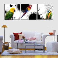 Cheap Unframed 3 Panels Modern Canvas Oil Wall Art Painting Colorful parrot Home Decorative Cheap Art Picture Paint on Canvas Prints