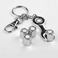 Wholesale 4pcs Car Wheel Tire Valve Caps with Mini Wrench Keychain Chrome Tire Valve Stem Caps Piece set
