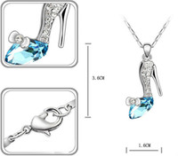 alloy slippers - 2016 cinderella shoe necklace glass high heel shoes crystal necklace pendant cinderella glass slipper necklace in stock