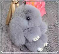 apple keychains - DHL rabbit Furs Keychain Pendant Bag Car Charm Tag Cute Mini Rabbit Toy Doll Real Fur Monster Keychains