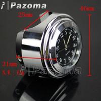 Wholesale PAZOMA Brand New quot quot Motorcycle Handlebar Black Dial Clock Temp Thermometer For Harley Honda Yamaha