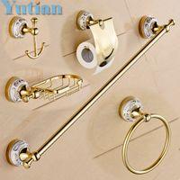 Wholesale Stainless Steel ceramic Bathroom Accessories Paper Holder Towel Bar Soap basket bathroom sets YT