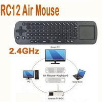 Wholesale Touchpad Measy Fly Air Mouse RC12 G Wireless Keyboard Gyroscope Game Handheld Remote Control for Android Mini PC TV Palyer Box Stick