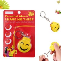 Wholesale Smile Face Alarm Personal Electronic Panic Alarm Anti Rape Anti Attack Alarm Sensor Security Siren Keychain Yellow