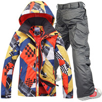Wholesale Gsou snow men ski suit male skiing set snowboarding mountain climbing suit mens yellow and mixd color ski jacket and pants waterproof K