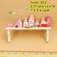 baby powder shampoo - 1 Dollhouse Miniature Baby Bath Set Shampoo Powder Mirror Toys with Wall Rack