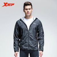 Wholesale XTEP Mens Sport Jacket Zipper Hooded Athletic Suits For Men Running T Shirt Fitness Quick Dry Sportswear Clothing