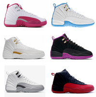 Wholesale 2016 air retro XII gs Dynamic white Pink Hyper Violet university blue ovo white GS Barons flu games girls Woman basketball shoes