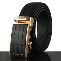 auto standards - high quality formal split genuine leather belt auto buckle mm wide black fashion designer leather man belt