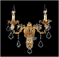 Wholesale Golden Crystal Wall Light Fixture Silver Wall Sconces Lamp Crystal Wall Brackets Chandelier