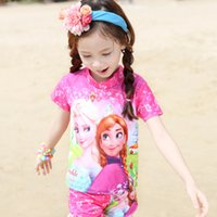beach babies swimwear - 2016 New Cartoon Frozen Princess Baby Girls Swimwear Bikini Kids Childrens Short Sleeve Swimsuit Spa Beach Swimming Suit