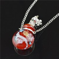 aromatherapy works - Murano lamp work Oil perfume bottle necklace Aromatherapy Aroma bottles fillable charm pendant bottles with bead cord