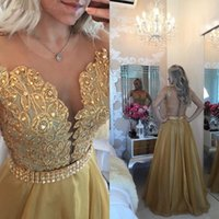 Wholesale 2016 Pearls vestidos de Festa Gold Prom Dress See Through Back Appliqued Chiffon Evening Prom Gown HY1488