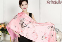 Wholesale Digital painting double flannelette shawl cloak of European and American fashion brand silk scarves for women