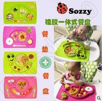 Wholesale 4 Designs Sozzy Baby Fedding Dinner Plates Bowl Security Children s Meals Dishes Cutlery Tray Plates Food Container Tableware LJJC4834