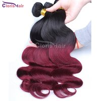best red hair dye - Burgundy Wavy Raw Indian Hair b j Ombre Human Hair Weave Best Two Tone Wine Red Body Wave Ombre Hair Extensions Bundles