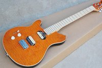 Solid Body axis music - Hot sell music man AXIS left hand electric guitar lines orange body double pick up