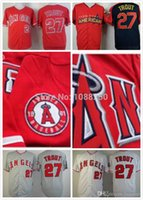 angeles usa - 2015 New Mike Trout Jersey All Star Cool Base Los Angeles Angels Jerseys Stitched White Grey Red days to USA