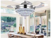Wholesale LED invisible K9 ceiling crystal fan light restaurant fans lamp ceiling living room minimal modern fashion fan lights inch