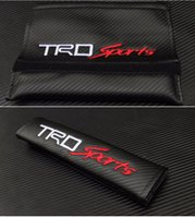 Wholesale car Seat Belt covers Shoulder Pad Cushions Pillow with TRD Logo Emblem Badge Shoulder supporting Protector Black Carbon Fiber GLO402
