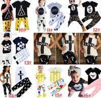Cheap 2017 Kids Ins Clothing Sets Baby Fashion Suits Girls Letter T-Shirt & Pants Infant Casual Outfits Boys Ins Tops & Harem Pants