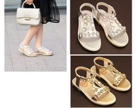 Wholesale New Children s Flats Sandals Girls Summer Fashion Beading Leather Sandals Kids Elastic Band Single Shoes