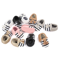 Unisex Spring / Autumn Cotton New Spring autumn Kids Baby stripe first walker shoes Tassels mocassions infant shoes PU soft soled shoes Baby First Walkers