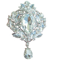 Wholesale Bridal Drip Flower Brooch Pin w Clear Rhinestone Crystals EE04082C2