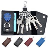 Wholesale New Car key cases Genuine Leather Car key bag Men s Key Wallets Solid color Wallets Multifunction Card bag Holders