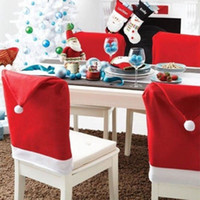 Wholesale Christmas House Hat Chair Covers Set Decor Christmas Holiday Festive Soft Red and White Fabric Santa Hat Christmas Chair