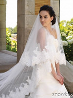 Wholesale 300 cm Tiers Custom Made White Ivory Lace Edge Purfles Long Cathedral Tulle Wedding Veils Bridal Accessories Free Comb