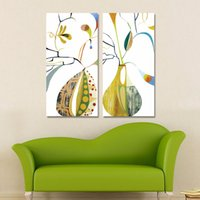 abstract vase - 2pcs set Abstract Art colorful vases decoration flowers wall art pictures Canvas Painting print children room decor unframed