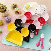 Wholesale INS Popular Baby Kids Mickey Head Dishes Cartoon Solid Color Dinner Plate Infant Placemat Kitchen Accessories Without Spoon LJJC5151