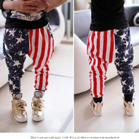 Wholesale New Children s Clothing Boys Set And Girls American Flag Star Stripe Print Casual Trousers Haren Pants