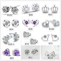 Stud 925 silver earrings - Mix style silver plated earrings natural crystal fashion small silver jewelry for women heart crown stud earrings