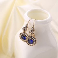 Wholesale Round Lace Vintage Ink Blue Crystal Earrings Made of Alloy Fashion Earrings for Women New Arrival