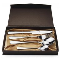 Wholesale 4Pcs set Stainless Steel Flatware Set Polishing Cutlery Kitchen Tableware Fork Steak Knife Spoon Dinnerware Gift ZA1353