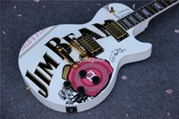 beam guitar - OEM Electric Guitar Retail JIM BEAM Model with Pink Rose Flower decal Top white color