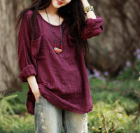 Wholesale Plus Size Women Loose Linen Summer T shirt Casual long Sleeve Blouse Ladies Solid round collar Tops Tees Women s Clothing